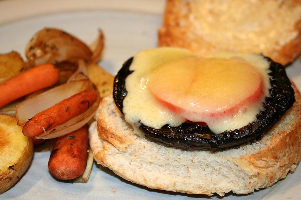 Portobello mushroom burger and roasted vegetables | Balsamic ...