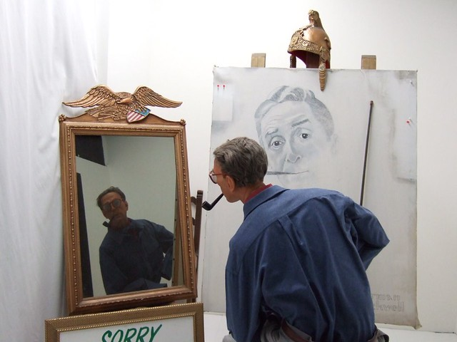Norman Rockwell Painting Himself | Photographed at the Wax ...