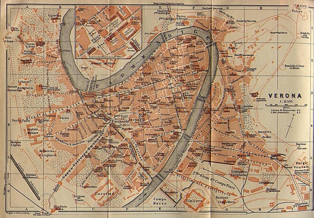 Map Of Verona 1913 From Baedeker S Northern Italy Handbook Flickr