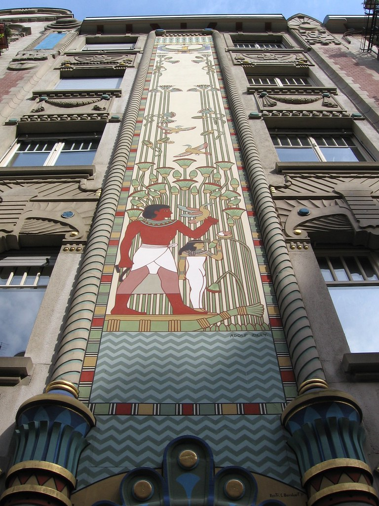 Interesting Egyptian/Art Deco architecture   Unfortunately ...