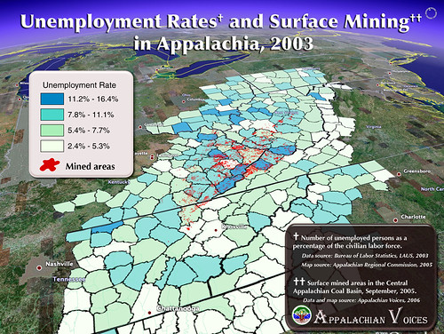 Unemployment rates and Surface Mining in Appalachia | by iLoveMountains.org