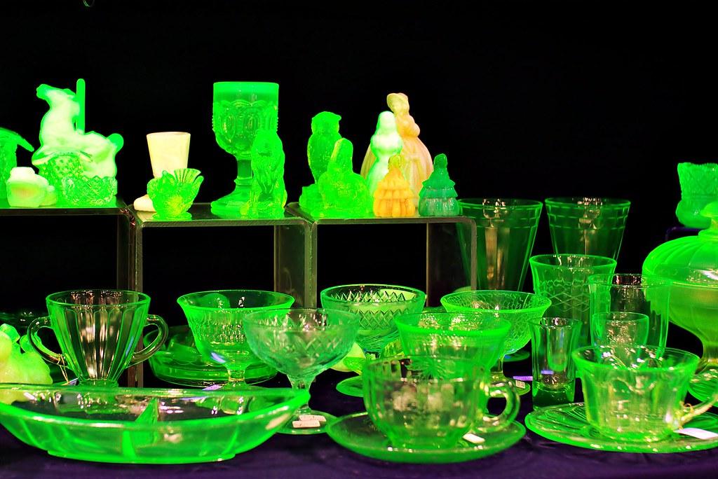 Uranium glass   Crystal glass laced with uranium