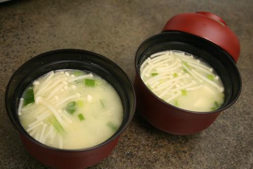 Shiro Miso Soup with Tofu, Enoki Mushrooms, and Green Onio ...
