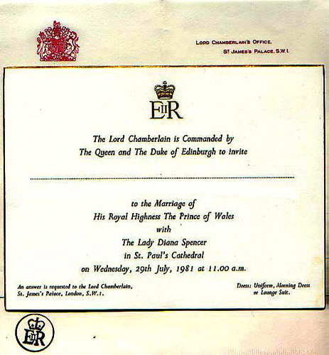 Princess Diana Wedding Invitation