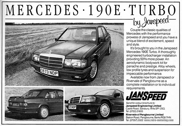 Janspeed mercedes benz 190e turbo retro car advert c673ndp for Mercedes benz new advert