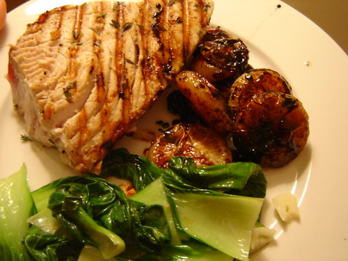 tuna with cipollini onions and baby bok choy | by mintyfreshflavor