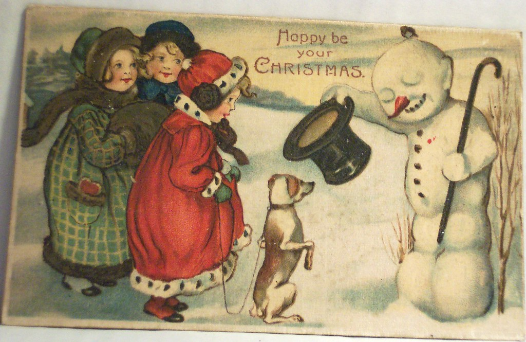 vintage christmas postcard snowman and dog and kids flickr