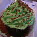 bakery-bought choc cupcake with mint frosting