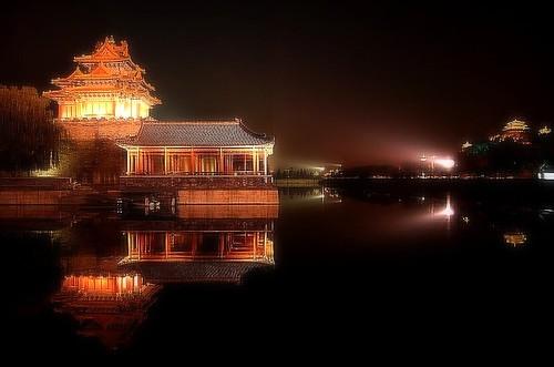 Corner Stair Tower At Night : Corner tower at night forbidden city beijing shot