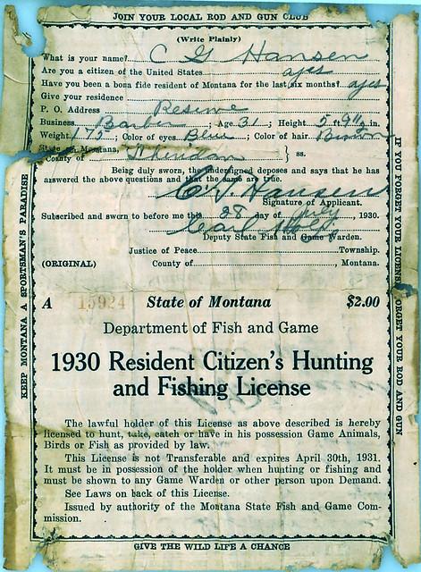 1930 montana hunting fishing license 2 ulisk3lu flickr for Free fishing license