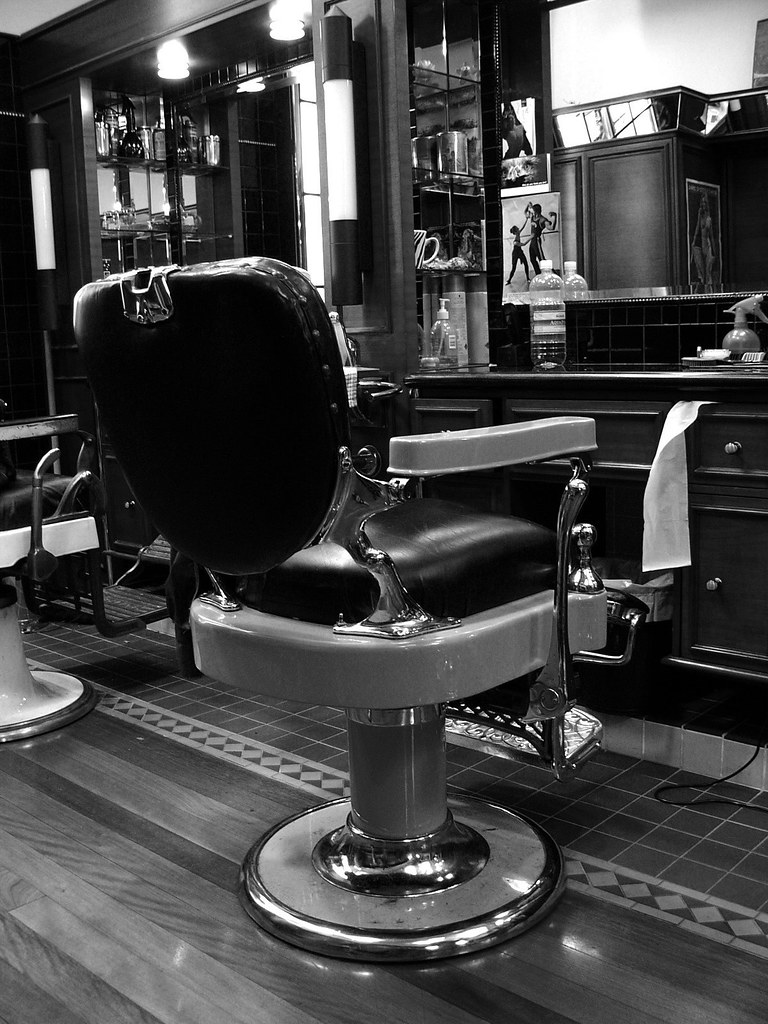 An Old Fashioned Barber Chair Monchrome A Barber Chair