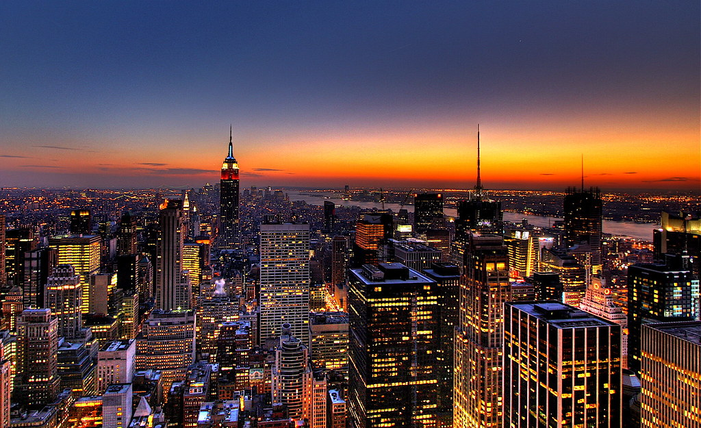 NYC New York City Skyline Sunset Wallpaper Background