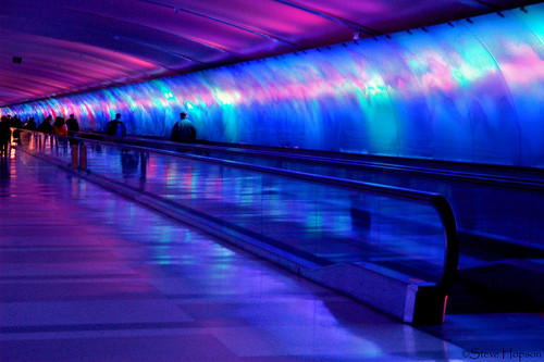 Light Tunnel, Detroit Airport | by Steve Hopson
