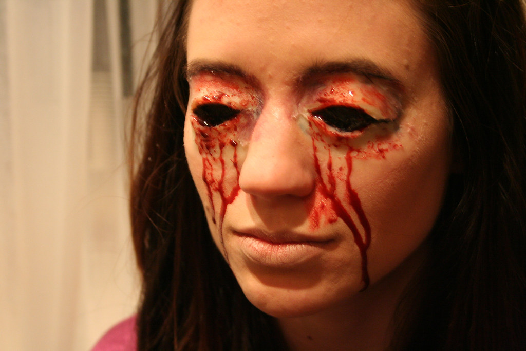 Lisa and her scary eye makeup for the corpse scene   Flickr