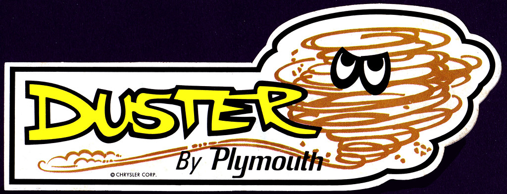 plymouth duster tornado guy sticker 1970 39 s this is a cle flickr. Black Bedroom Furniture Sets. Home Design Ideas