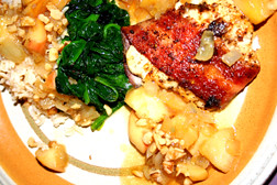 Wrapped Tilapia with Spinach, Brown Rice and Butter, Apple & Vinegar ...