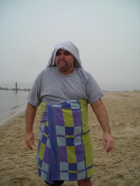 post swim - wearing a towel wimple