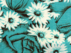 vintage fabric - turquoise roses and daisies - drawing | by kmel