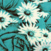 vintage fabric - turquoise roses and daisies - drawing