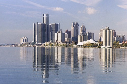 Detroit Skyline (and Reflections In the Detroit River) from Belle Isle Park | by pinehurst19475
