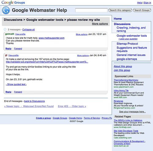 Google Groups Webmaster Help Thread | by rustybrick