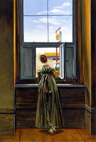 Ragazza alla finestra oil on canvas 40x60 cm from caspar for Ragazza alla finestra quadro