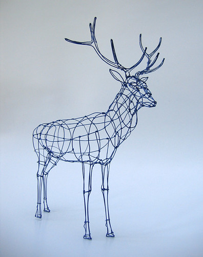Wire sculpture royal stag in wireframe this is the for 3d wire art