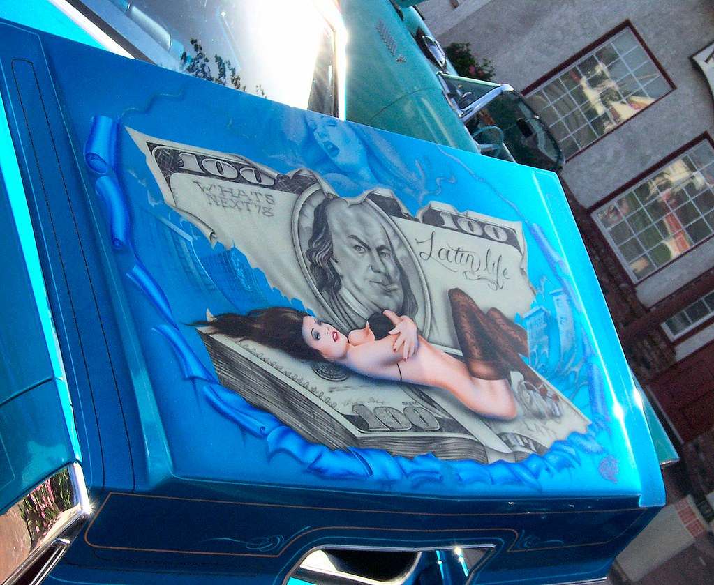 Blue 1978 Cadillac Lowrider trunk lid mural. | Matthew Brown | Flickr