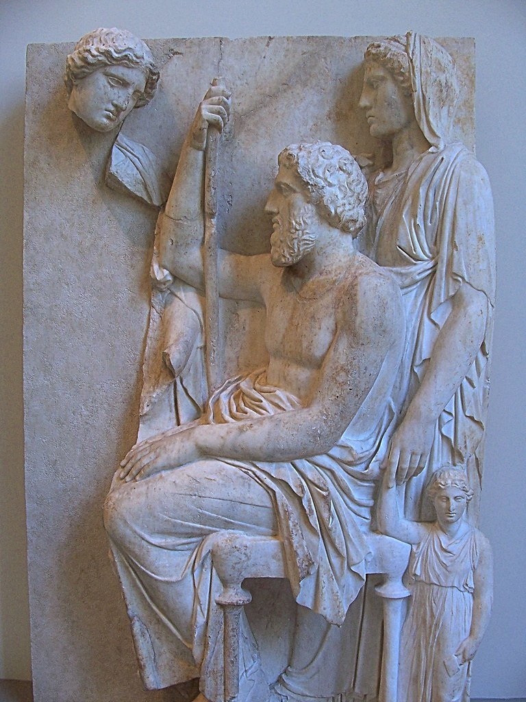 Greek and romand art marble grave stele with a family gr for Graue stuhle