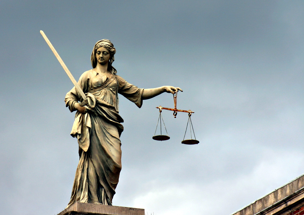 Lady Justice   Justice statue on a building in Dublin ...