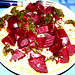 Pasta with beets and beet greens with fresh-squeezed lemon juice, garlic, olive oil ...