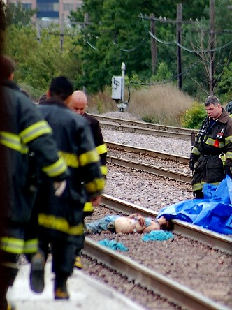 FIREMEN LOOK AT WOMANS BODY HIT BY TRAIN | Eugene (FLASH