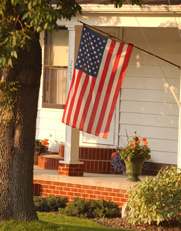 American Flag on small town home -- Farmersburg | by jmurphpix