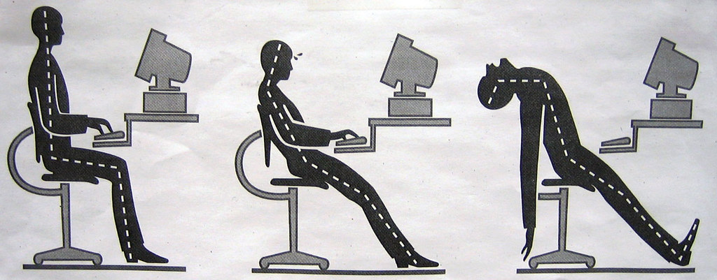 Illustration showing the effects of poor posture over time.