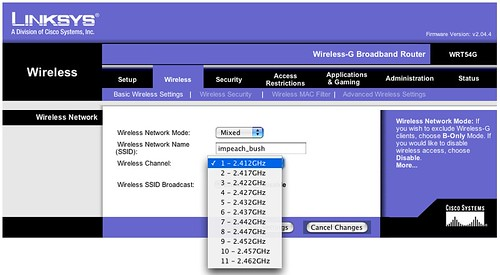linksys how to change channel