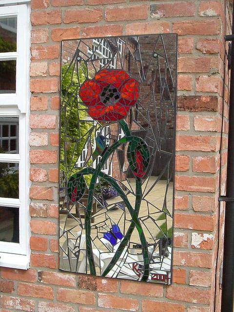 Poppy Amp Butterflies Mosaic Garden Mirror 62 X 123cm 2