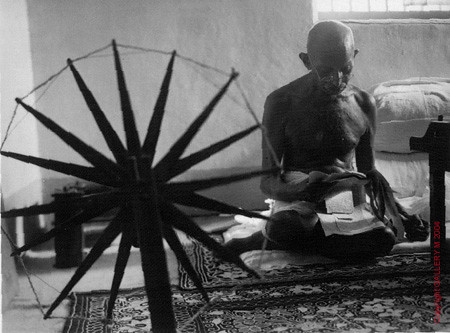 Gandhi Beside Spinning Wheel | by some may see them as the crazy ones, we see genius
