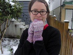 hand dyed traditional mittens - modeled | by cosymakes