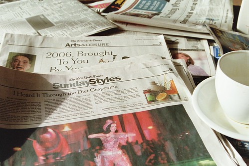 sunday new york times at my local coffee shop | by cafemama
