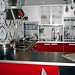 Ikea black, white, red kitchen