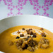 Roasted Acorn Squash and Garnet Yam Soup with Bacon and Caramelized Apples