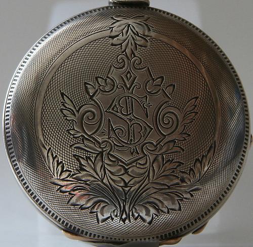 monogram detail on coin silver keystone case circa 1880s
