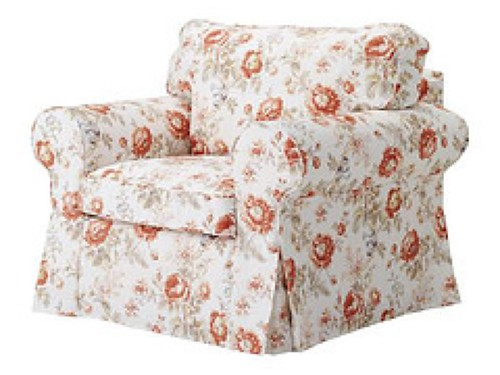 Ikea Ektorp Armchair Chair Slipcover Floral Byvik Randi