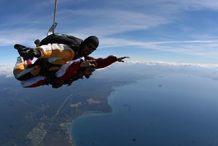 Sky diving above Taupo lake | by Antoine Hubert