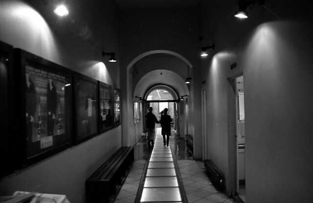 couple walking in irish film centre , dublin