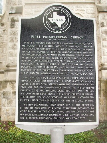 First Presbyterian Church Of San Antonio In 1844 A
