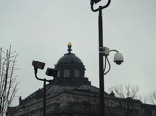 US Supreme Court Work Area Lightpost Surveillance Camera & Library Of Congress Torch Of Learning (Washington, DC) | by takomabibelot