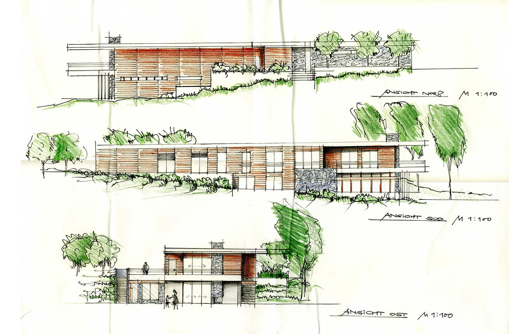 """... house at the slope"""" sketches   sketches of my """"famil…   Flickr"""