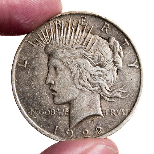 1922 Peace Dollar Scale Shot For Comparison To This Shot