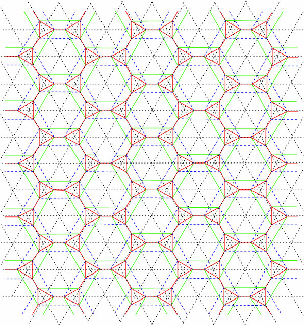 Tiled Hex Origami Tessellation Crease Pattern